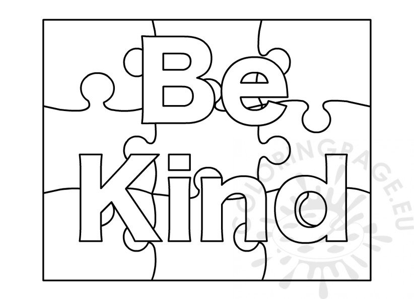Be Kind word coloring page