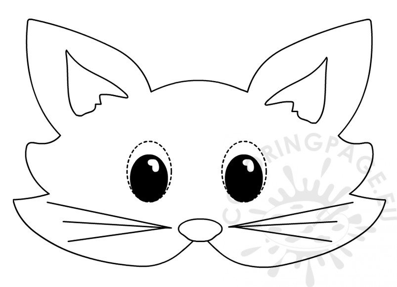Cat mask Printable animal masks to colour