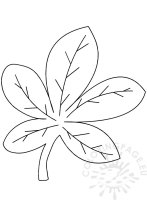 Large chestnut leaf template printable – Coloring Page