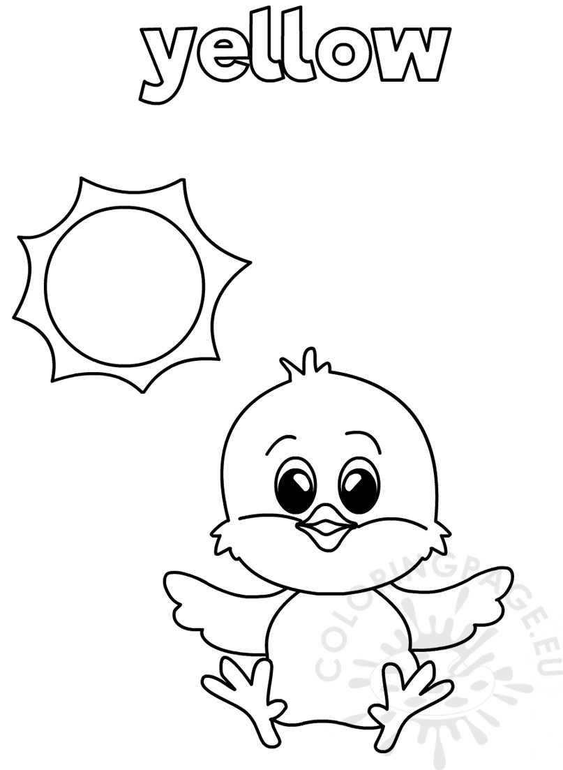 Yellow coloring worksheet for Kindergarten – Coloring Page | colouring worksheets for preschoolers