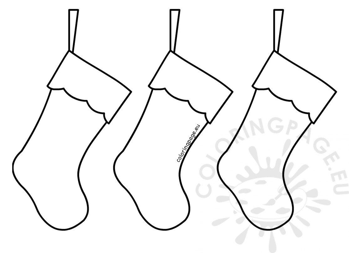 Three Simple Christmas Stockings Printable Coloring Page