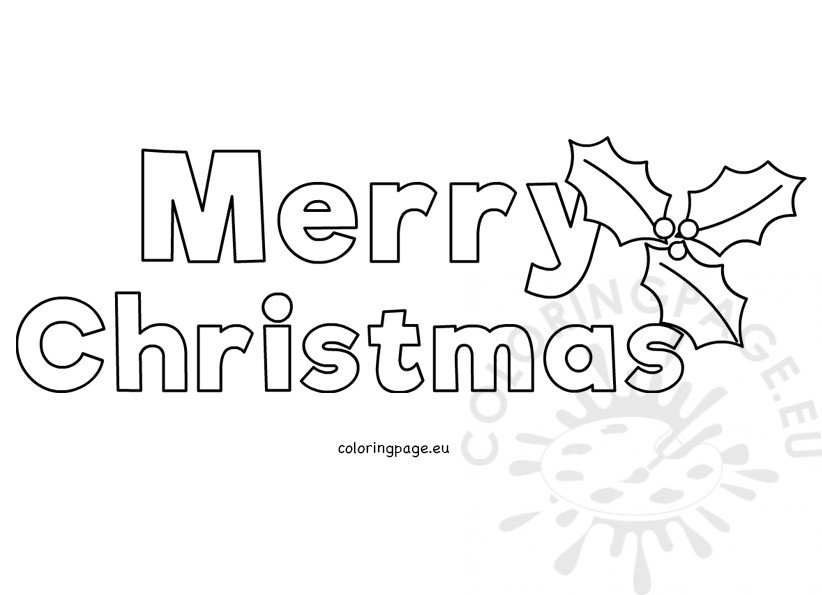 Merry Christmas letters with Holly template