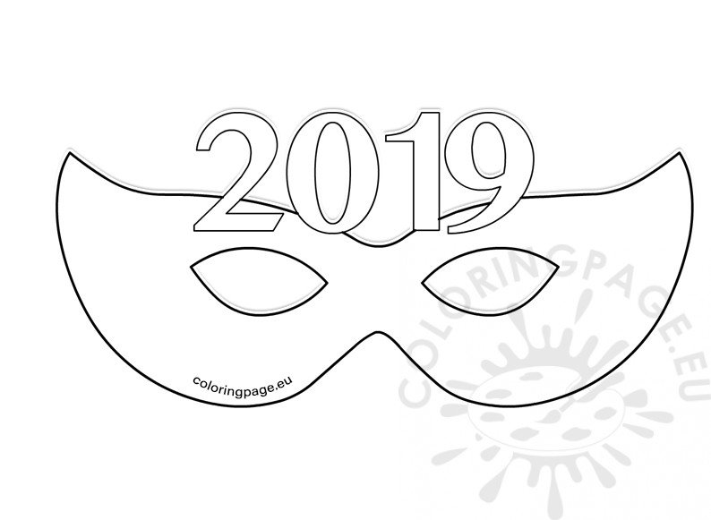 2019 New Year Paper Party Eye Mask template