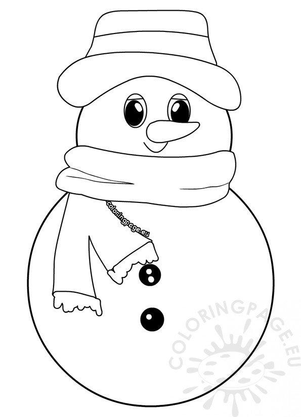Simple snowman color sheets preschool