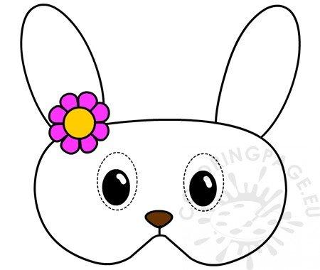 Bunny mask with flowers printable