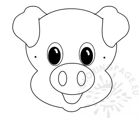 Pig paper mask template Kids crafts