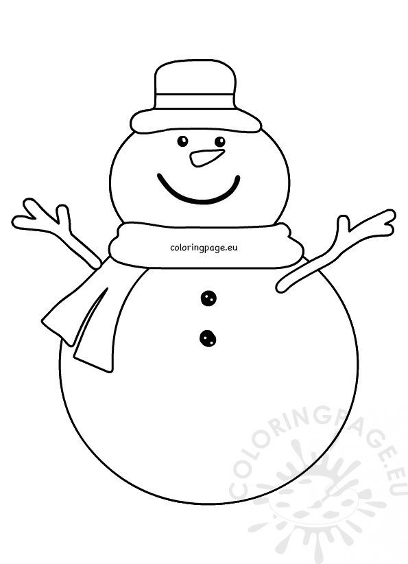 Snowman cartoon wearing a Hat and scarf