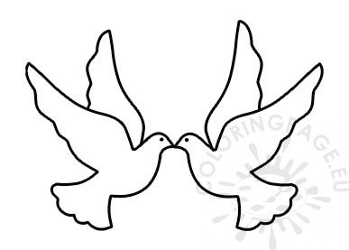Two doves flying template vector image