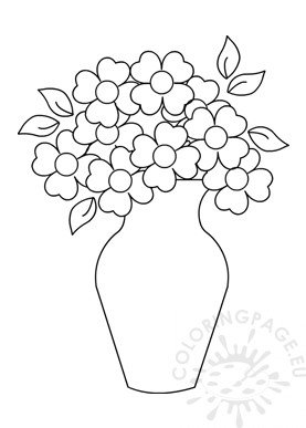 Vase with flowers Picture To Color