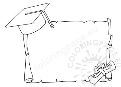 Diploma certificate with graduation cap