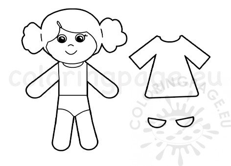 Printable Cute girl paper doll template