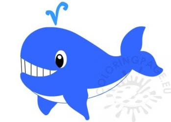 Blue Whale cartoon clipart Coloring Page