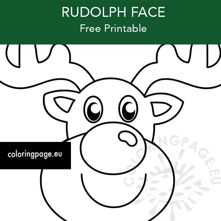Printable Rudolph Christmas Face Coloring Page