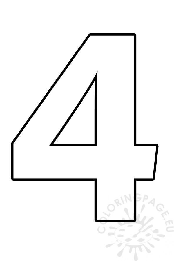 Free printable Number 4 template