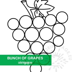 Printable Bunch of grapes outline Coloring Page