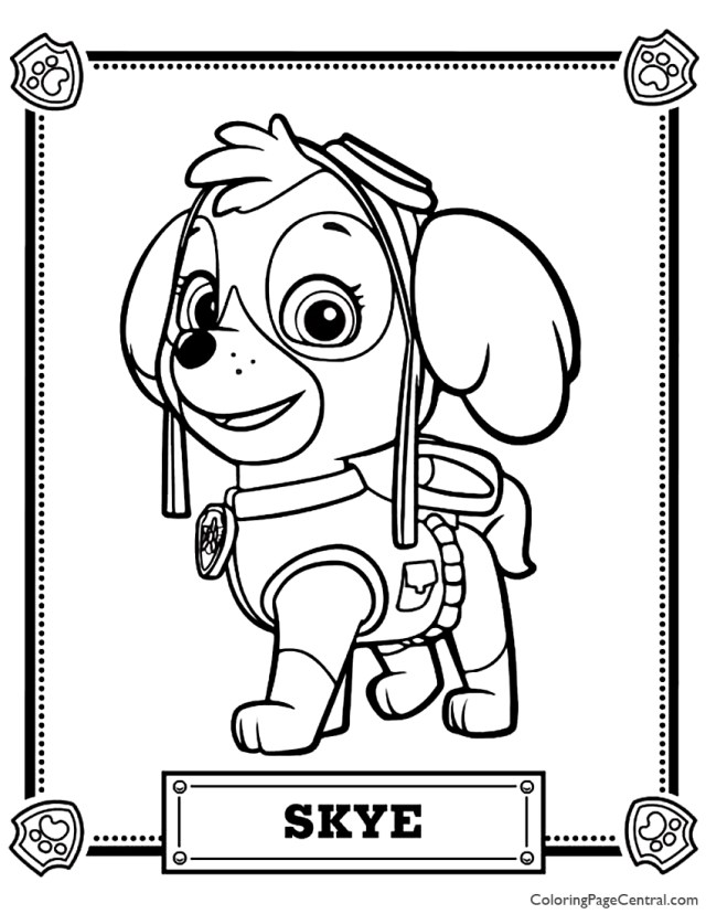 Paw Patrol - Skye Coloring Page  Coloring Page Central