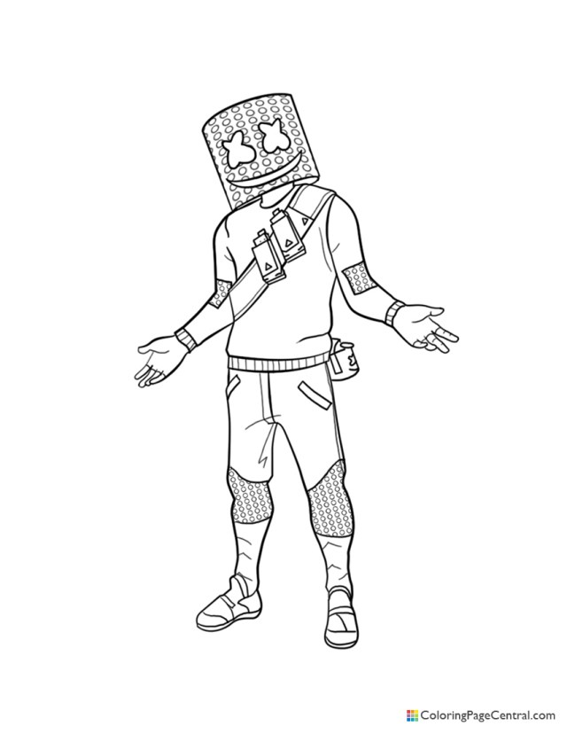 Fortnite - Marshmello Coloring Page  Coloring Page Central