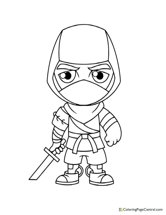 Fortnite - Save the World Ninja Chibi Coloring Page  Coloring
