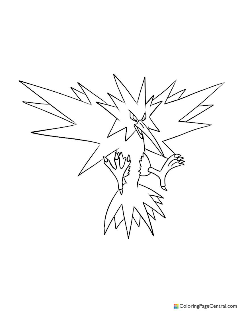 Zapdos Coloring Page : zapdos, coloring, Pokemon, Zapdos, Coloring, Central