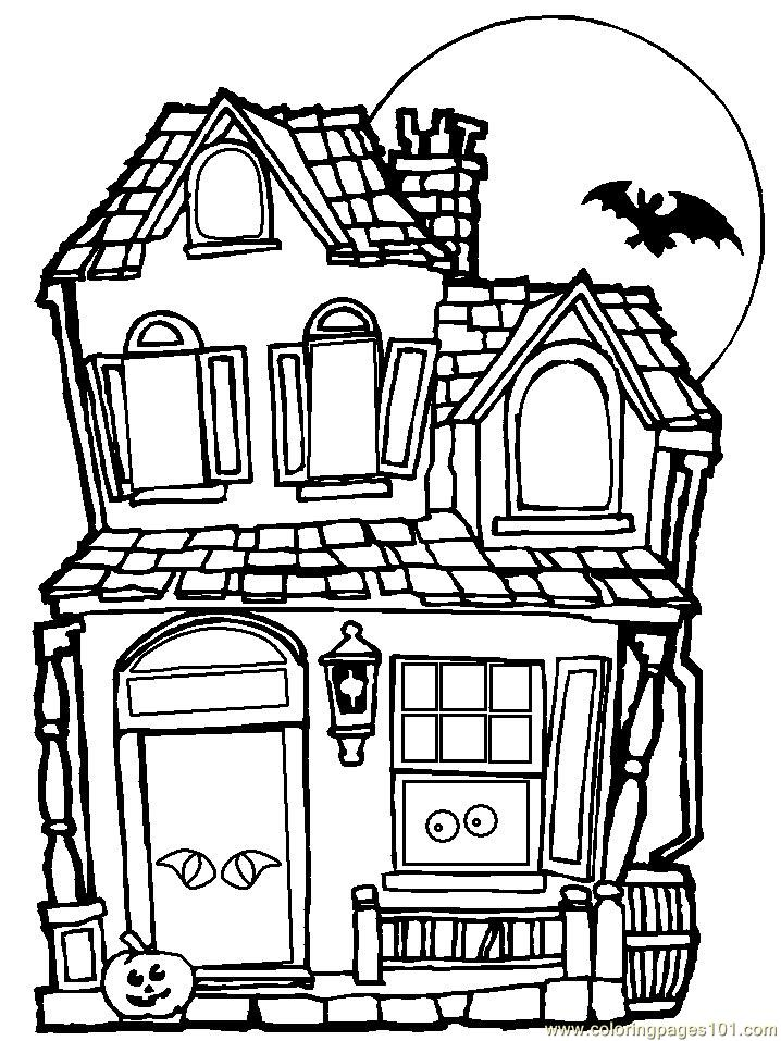 Haunted House Coloring Page : haunted, house, coloring, Haunted, House, Coloring, Houses, Printable, Pages, Online, ColoringPages101.com