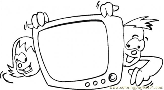 Coloring Pages Kids Watching Tv (Technology > Home
