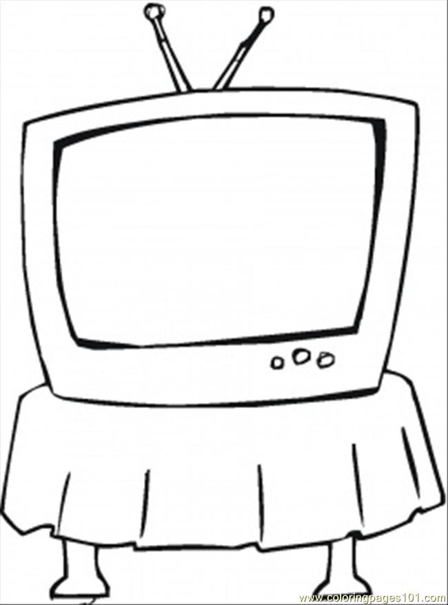 Coloring Pages Tv On The Table (Technology > Home