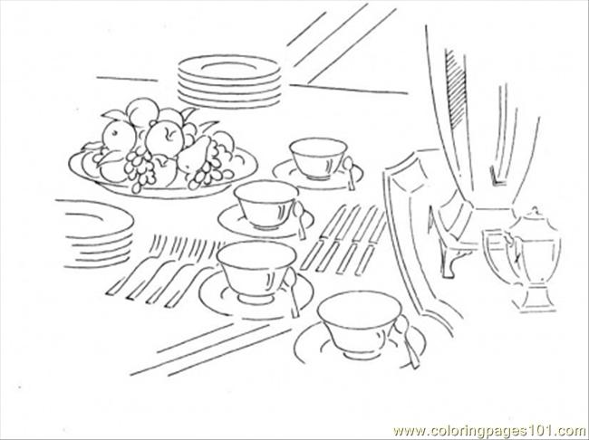 Dining Table: Coloring Page Dining Table