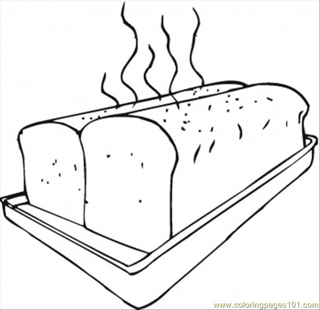coloring pages fresh bread on baking sheet (other