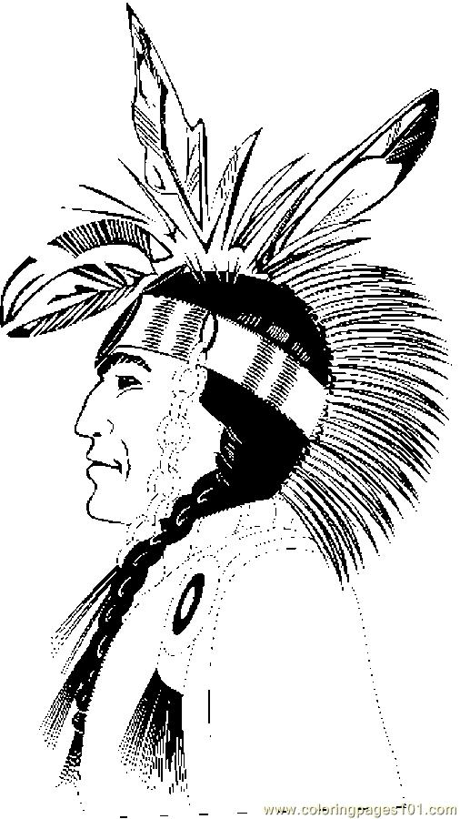 Coloring Pages Native American Profile (Holidays