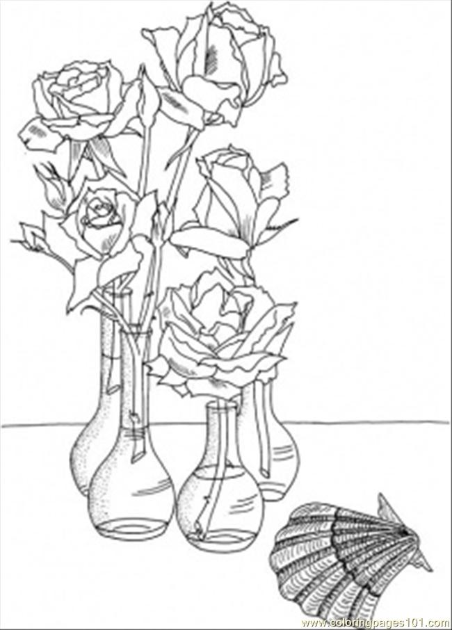 Roses In The Vases Near The Shell Coloring Page Free