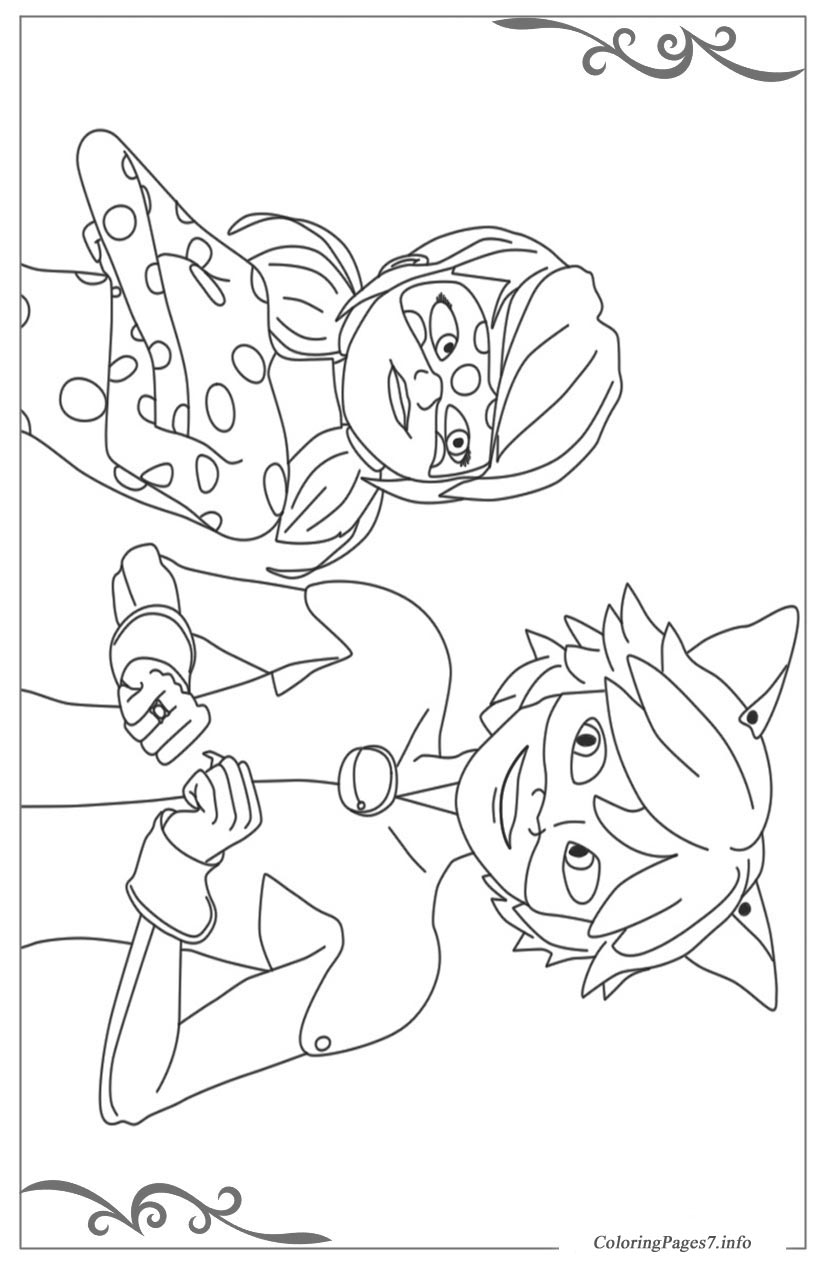 Miraculous Tales Of Ladybug Cat Noir Coloring Pages For Children