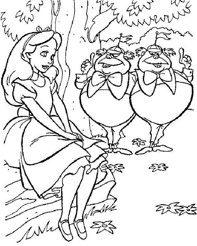 Happy Alice In The Wonderland Coloring Page