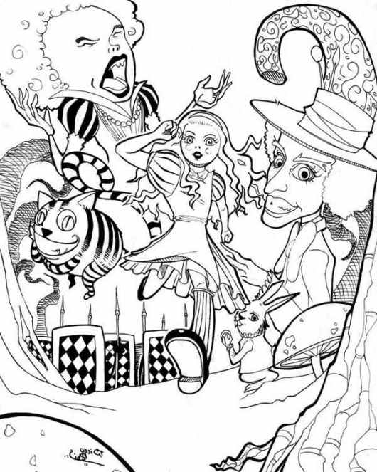 alice's adventures in wonderland coloring pages