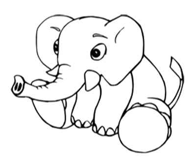 baby elephant colouring pages