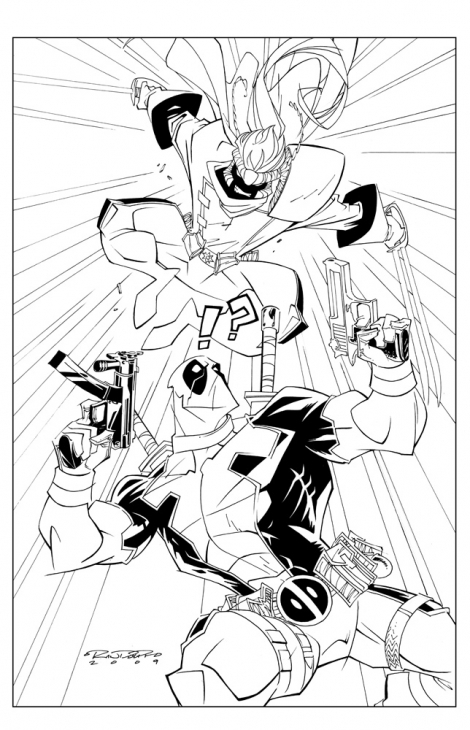 Deadpool in Action Coloring Pages