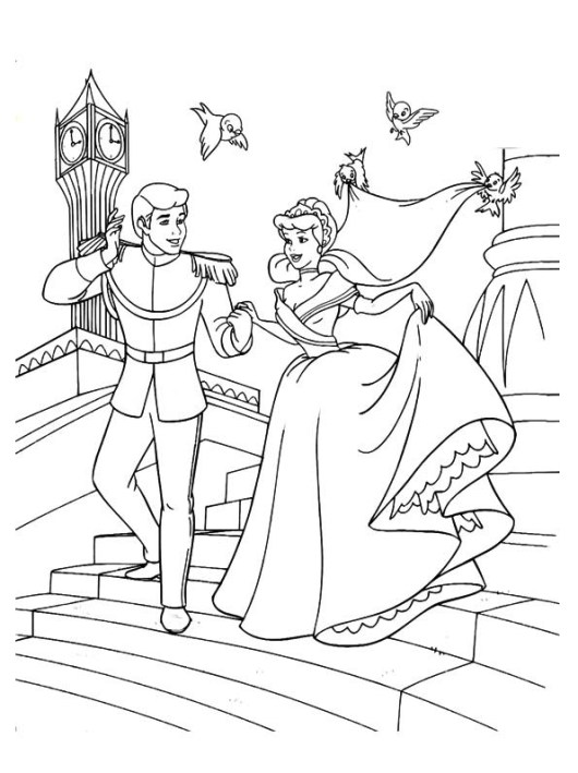 the-cinderella-and-the-prince-down-the-stairs-coloring-pages