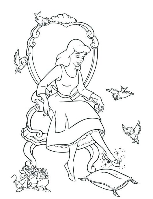 cinderella-coloring-pages-with-her-shoes