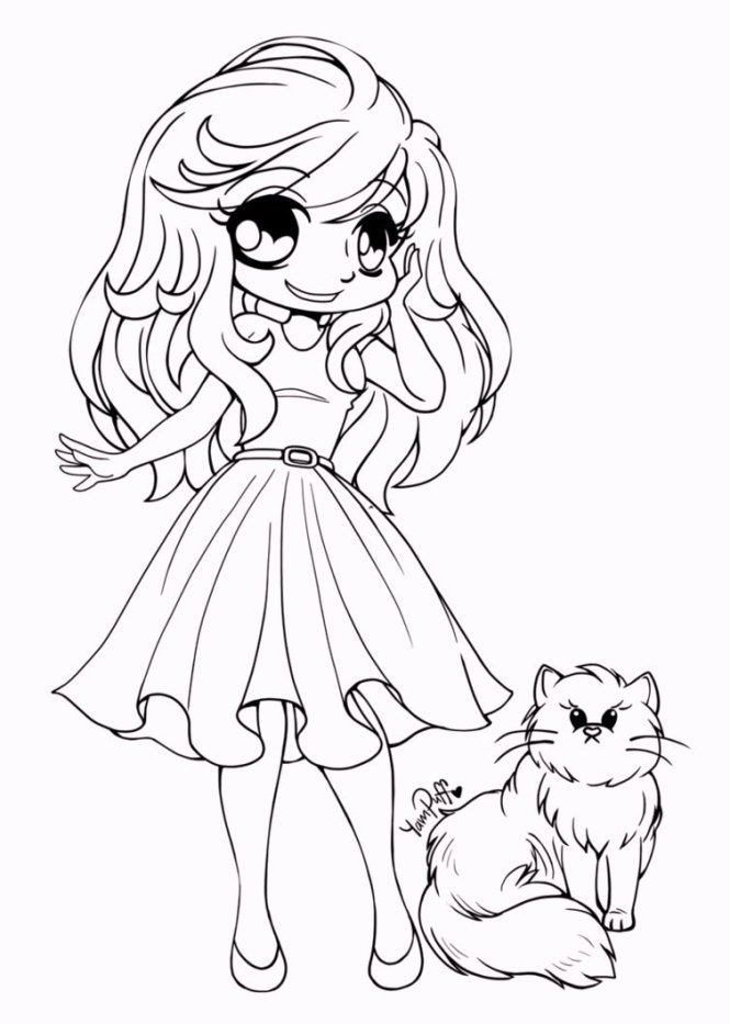 Coloring Pages For Your Girlfriend : Cute chibi girl coloring pages page for kids