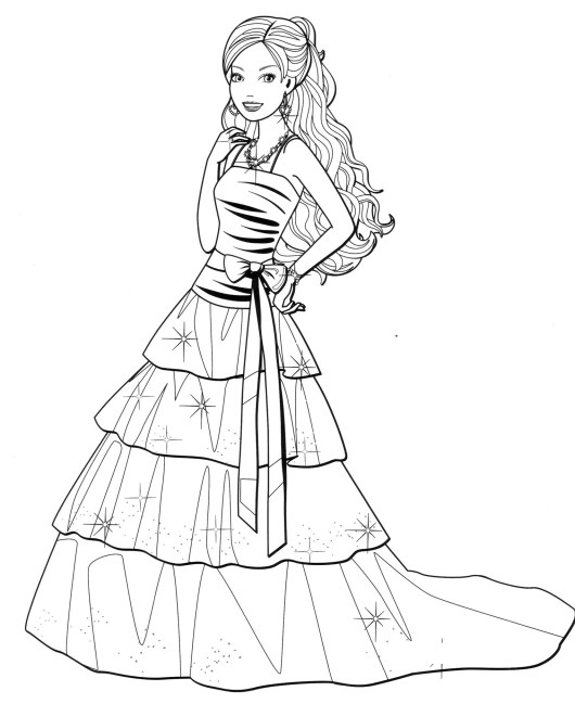 Fashion dress coloring pages for your little girls for Barbie dress up coloring pages