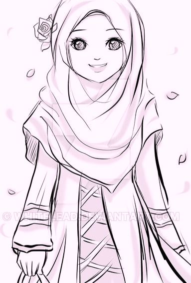Chibi Cute Couple Wallpaper Islamic Muslima Wears Hijab Coloring Pages