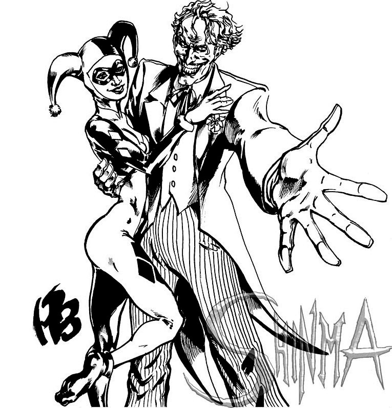 Cute Toddlers Playing Cartoon Wallpaper Joker And Harley Queen Coloring Page