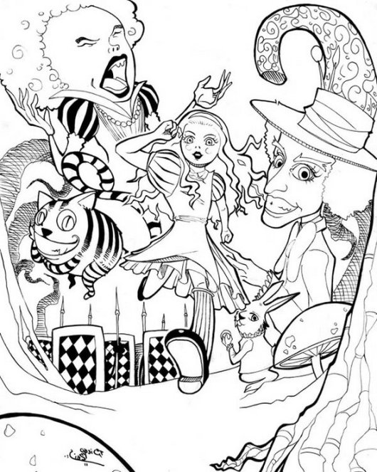 Alice-in-Wonderland-Trippy-Creative-Coloring-Page