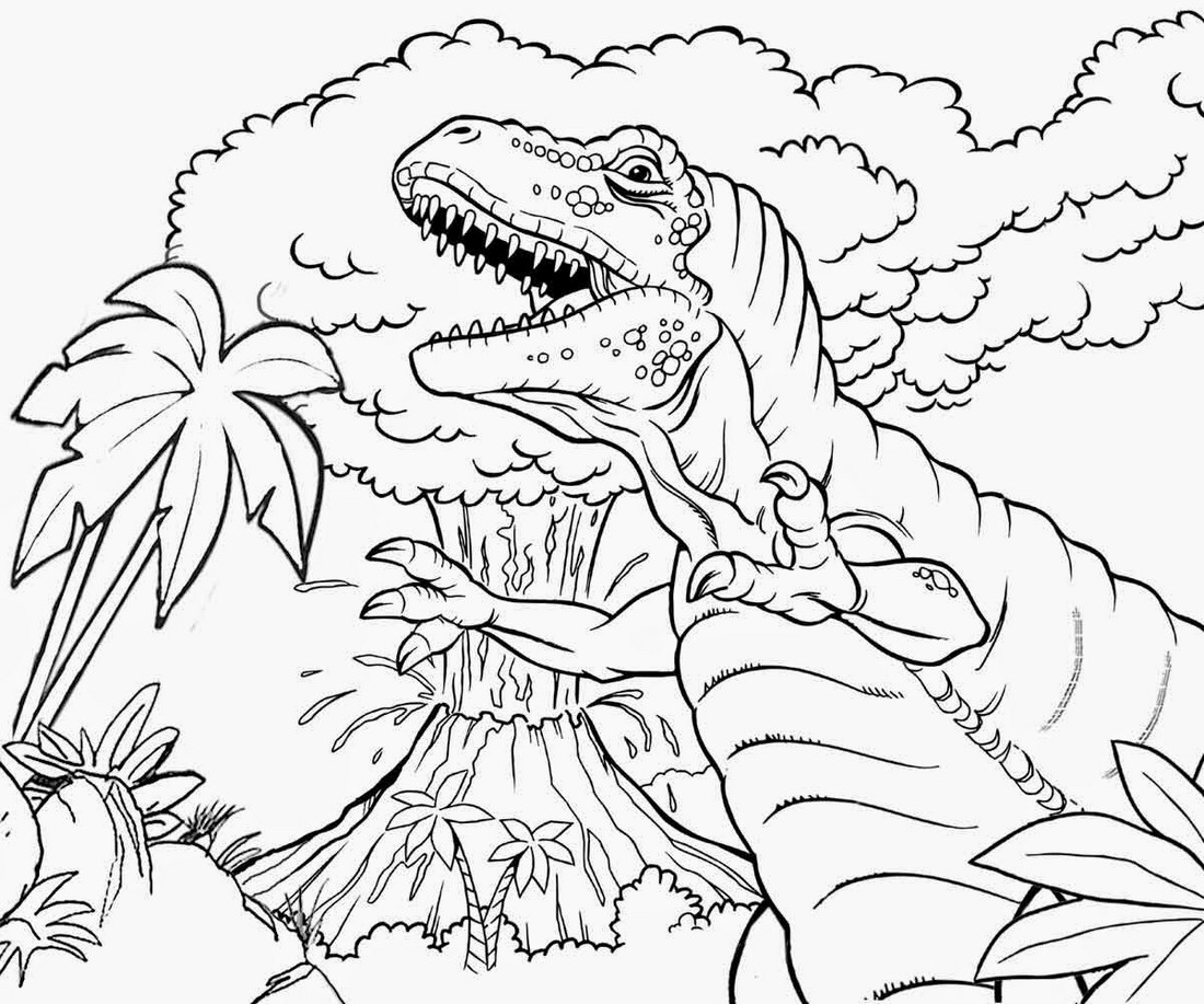 Dinosaur-and-volcano-coloring-sheet
