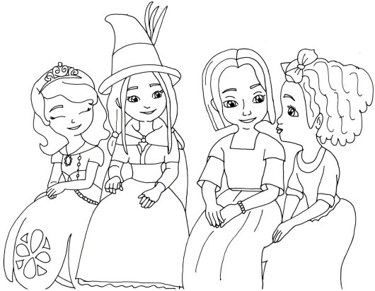 Sofia the first and friends colouring