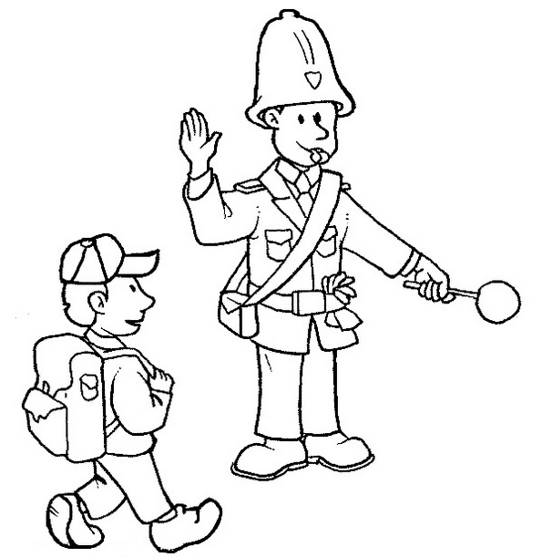 Traffic-Police-crossing-students-Coloring-Pages