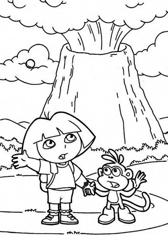 dora-adventure-volcano-coloring-page