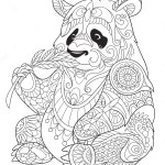 panda-eating-bamboo-zentangle-coloring-page