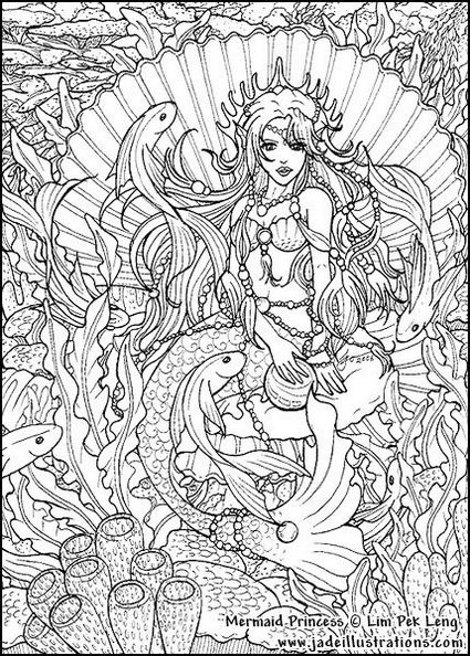 Realistic-Mermaid-Illustrations-Coloring-Pages-for-Adults