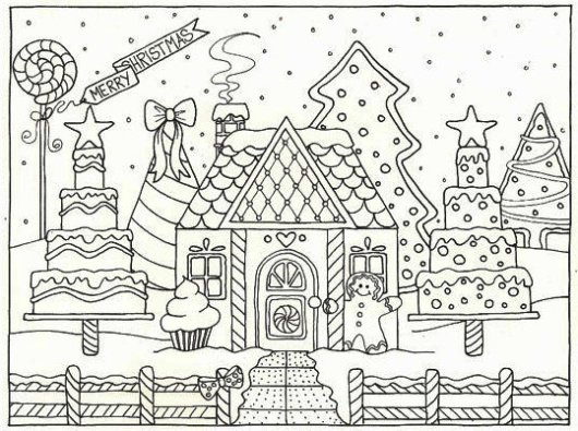 Gingerbread House Coloring Pages Coloring Pages