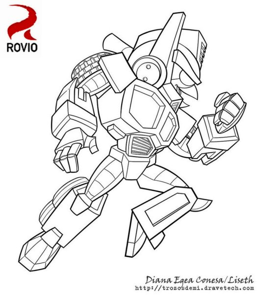 Angry Bird Transformers Bumblebee Coloring Illustration